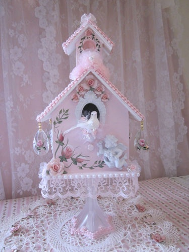 Oh Sooo Chic N Shabby HP Pink Rose Victorian Cottage Birdhouse w Porcelain Roses | eBay