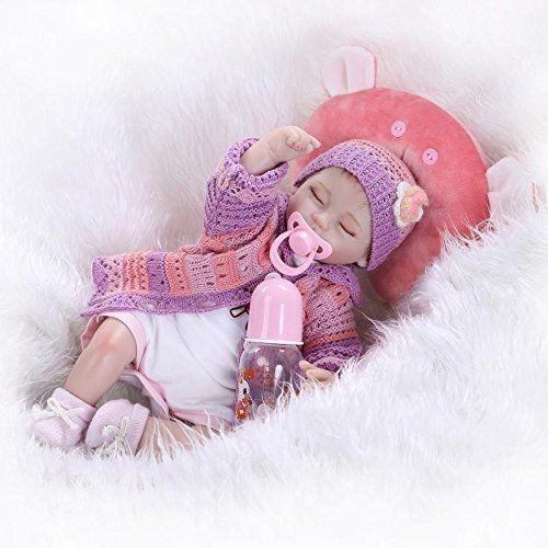 Nicery Reborn Bambino Bambola Morbido Silicone Vinile Da 18 Pollici 45 Centimetri Magnetica Bocca Realistica Della Ragazza Del Giocattolo Cuscino Rosso Occhi Chiudi Baby Doll A3IT
