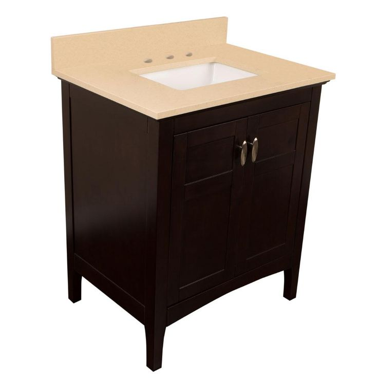 Bellaterra Home Montague 30 in. W x 22 in. D Single Vanity in Sable Walnut with Quartz Vanity Top in Beige with White Basin