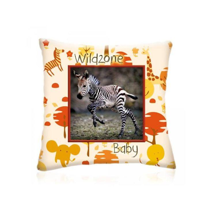 WILD ZONE Baby ZEBRA állatos díszpárna 28x28 cm - Díszpárna.com Webáruház
