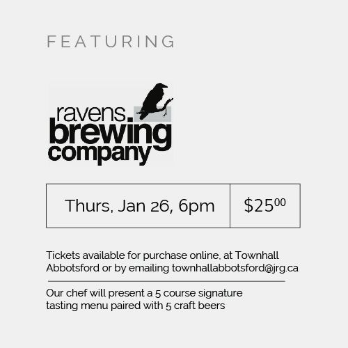 Ravens Brewing Company Craft Beer Pairing Dinner At Townhall Abbotsford ‹ Joseph Richard Group