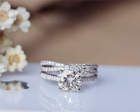 1.5ct Round Forever Brilliant Moissanite Engagement Ring Set 14K White Gold Moissanite Ring Wedding Ring Set Anniversary Ring Valentine