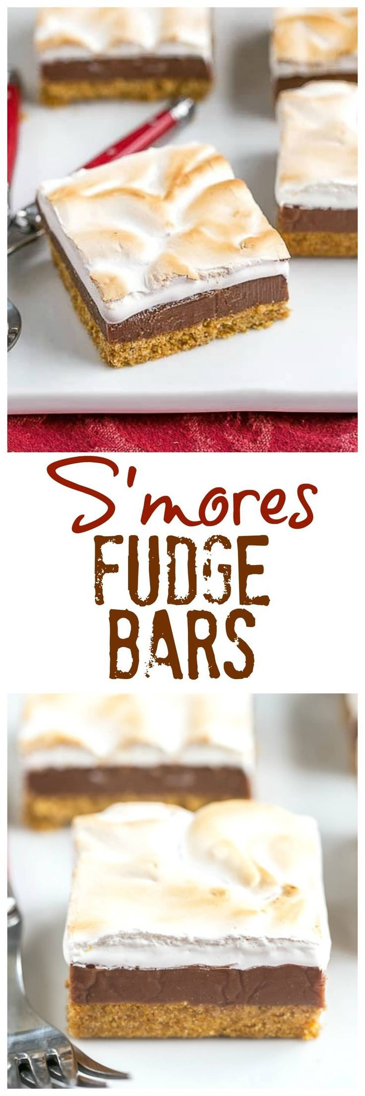 S'mores Fudge Bars | Graham cracker crust, fudgy center and marshmallow topping! @lizzydo