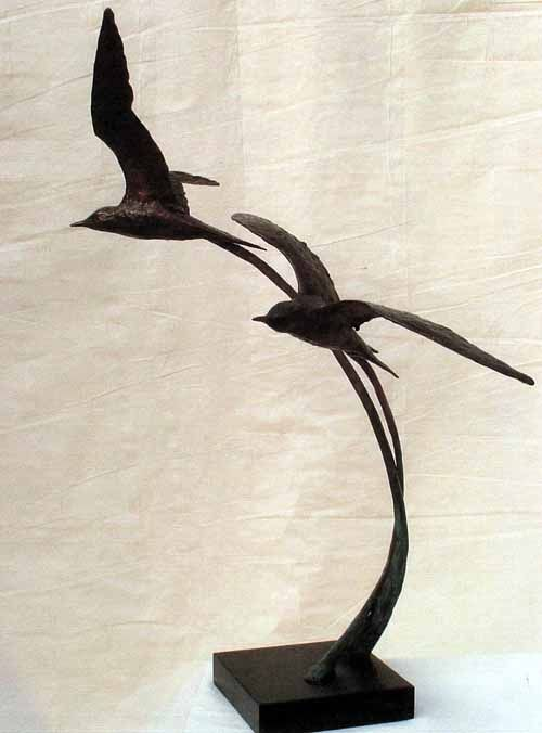 Bronze Wild Bird sculpture by artist Gill Brown titled: 'Airborne (Bronze Flying Pair of Birds Sculptures)' £4335 #sculpture #art