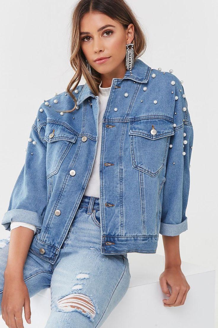 Faux Pearl Denim Jacket Forever 21 Diy Denim Jacket Denim Jacket Denim Jacket Fashion [ 1104 x 736 Pixel ]