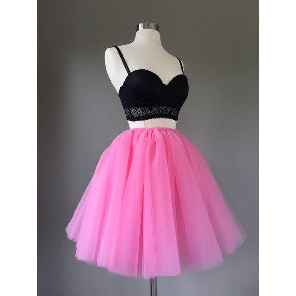 Tulle Skirt Adult Tutu Pink Tutu Pink Tulle Skirt Adult Bachelorette... ($55) ❤ liked on Polyvore featuring skirts, dresses, black, women's clothing, black tutu, long black skirt, high waisted mini skirt, high-waisted skirts and pink tutu skirt