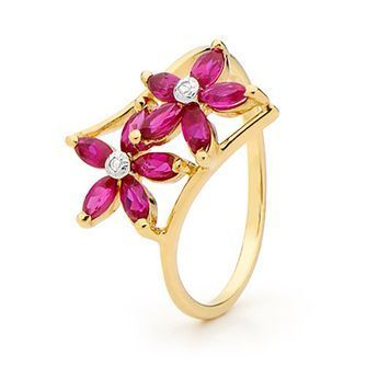 Buy our Australian made Ruby and Diamond Flower Ring - BEE-24737-CR online. Explore our range of custom made chain jewellery, rings, pendants, earrings and charms.