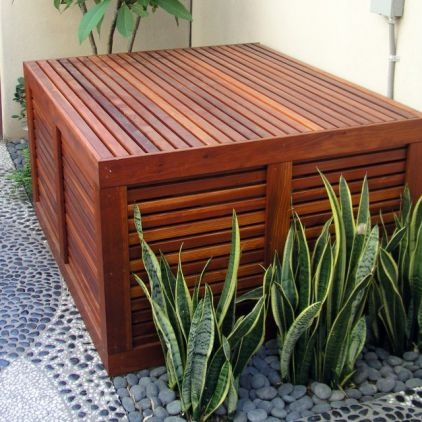 Screen, Seat U0026 Door Placement And Landscape Color Theme   Pebble Patio,  Wood Slats, Air Conditioner Cover, Camouflage U0026 Air Conditioner