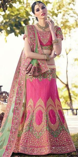 Stunning Pink And Green Silk Designer Lehenga Choli With Dupatta.