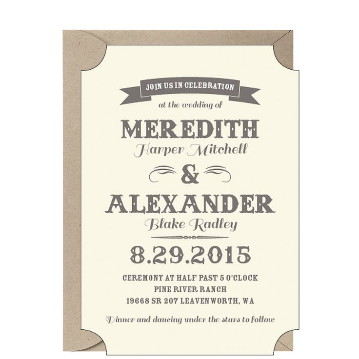 Vintage Ticket Wedding Invitation - Meredith & Alexander
