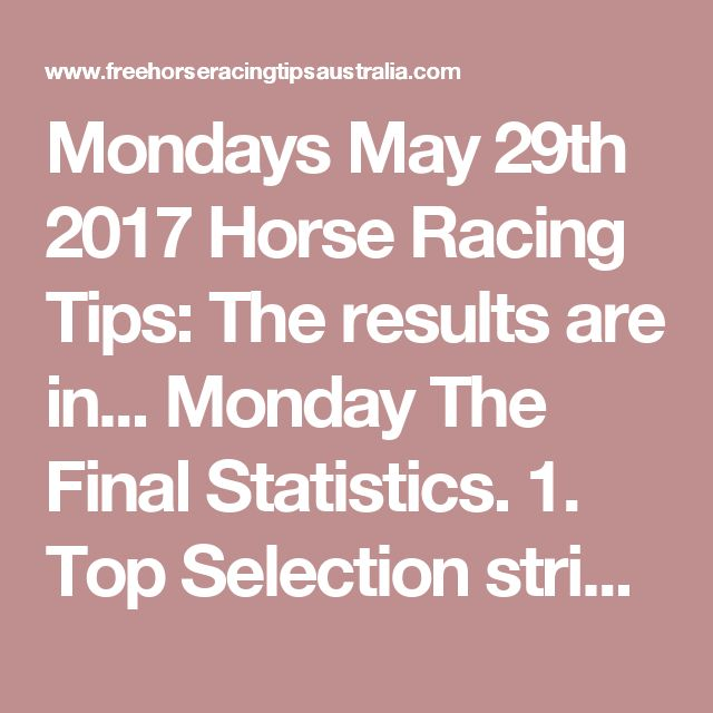 Mondays May 29th 2017 Horse Racing Tips:  The results are in...  Monday The Final Statistics.  1. Top Selection strike rate at 25% out of 24 races.  2. Top 2 Selections strike rate at 46% out of 24 races.  3. Exacta strike rate at 46% out of 24 races.  + Best Top Selection win dividend: $4.80  + Best tipped Exacta dividend: $85.00  + Best Trifecta dividend: $213.10  + Best First 4 dividend: n/a  + Best Quadrella dividend: $105.30