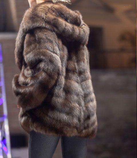 Dark fur hooded