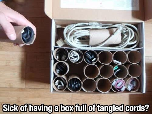 Box of tangled cords fixed  I keep saving them, he keeps throwing them out...