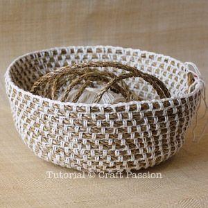 Crochet | Hemp Basket | Free Pattern & Tutorial at CraftPassion.com - Part 2