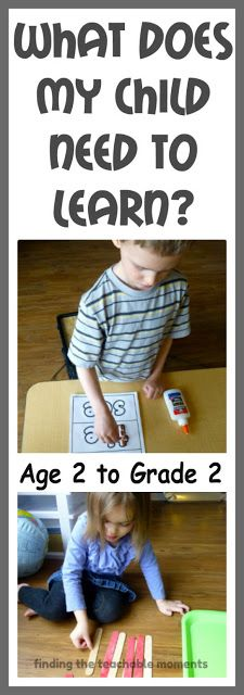 What Does My Child Need to Learn?  (Age 2- Grade 2 Learning Objectives).