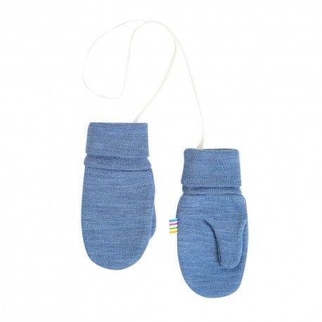 Mittens with thumb, wool, blue stripes, Joha