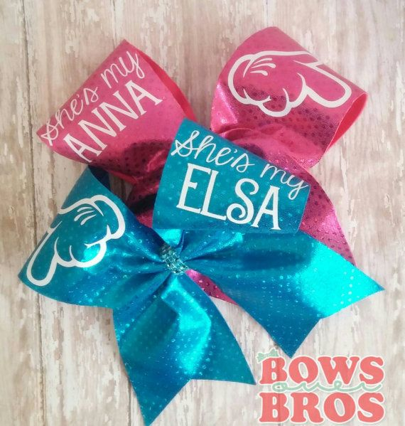 Anna and Elsa Cheer bow set.  https://www.etsy.com/listing/237659584/frozen-sister-or-best-friends-cheer-bow