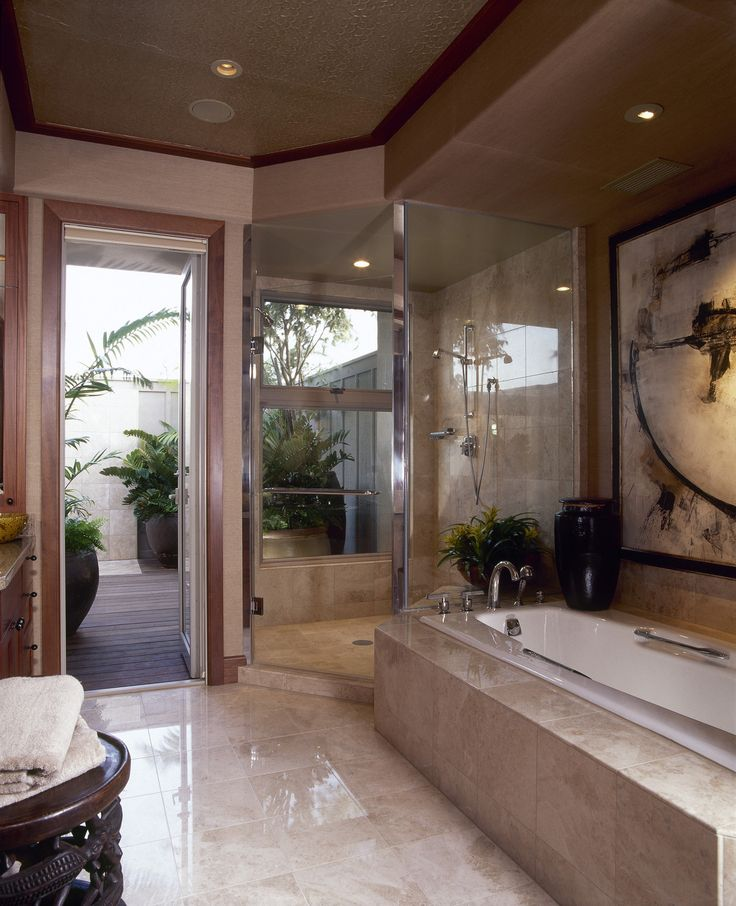 Contemporary Bathroom   Details: Beige Contemporary Bathroom   Keywords:  Sunken Bath,  Bathroom,  Toiletry,  Bathroom Tile,  Cast Iron Tub,  Modern,  Contemporary,  Shower Tiles,  Bathrobe,  Shower,  American,  Neutral Colors,  Slate Surround,  Natural Material,  Walk In,  Glass Brick,  Towel,  Bath Tub,  Shower Area
