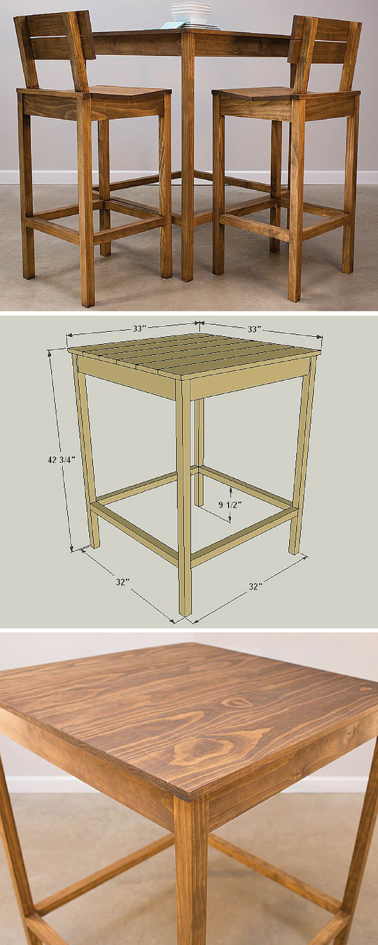This pub table looks great, and will fit in your kitchen—or many other places—thanks to its compact size. Plus, the pub table is surprisingly simple to build from just a few boards you can get at any home center. It's the perfect companion to the Pub Chair plan you'll find on BuildSomething. Get the free DIY plans at buildsomething.com