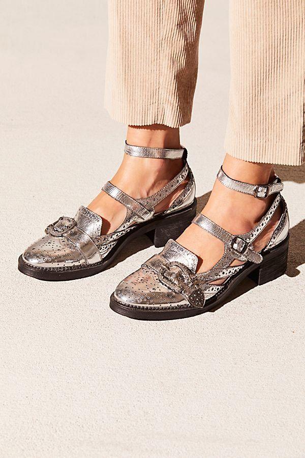 f699d05940e Thunderbird Oxford - Silver Kitten Heel Oxfords with Buckles - Silver  Oxfords - Silver Heels - Western Heels - Free People Shoes