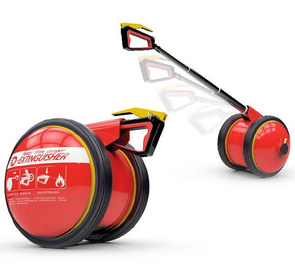 O-Extinguisher - Fire Extinguisher is designed to roll on the floor as you run to extinguish a fire. It even holds more fire suppressant than the traditional extinguisher. #fire #safety #YankoDesign