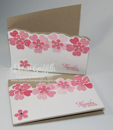 Petite Petals pack a big punch (ha, pun intended!) on this handmade thank you card!  Flowers in different shades of pink are great on white, and the die cut edge along the top of the card create a beautiful look.