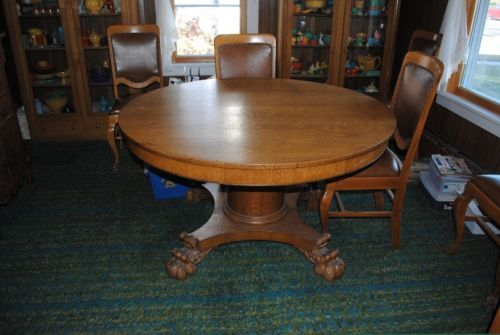 52 inch antique round oak table 6 antique chairs ebay