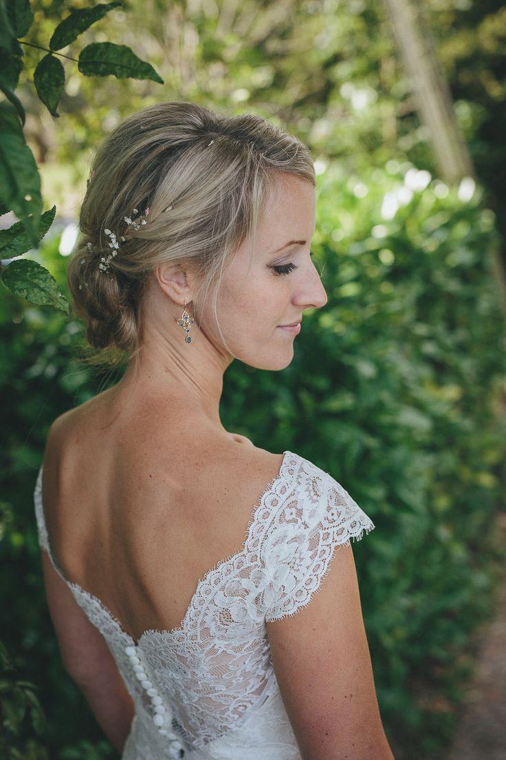 Lace Augusta Jones Dress | Summer Country Wedding | Outdoor Tipi Reception | Rustic Decor | Wild Flowers | Etsy Purple Bridesmaid Dresses | Festoon Lights | Helen Lisk Photography | http://www.rockmywedding.co.uk/eve-tim/