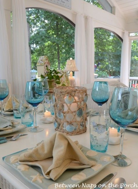 Seashell tablescape + link to tutorial for making candleholder (note: same color shells glued to base of wine glasses)