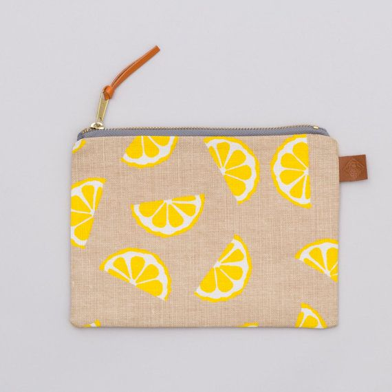 Screen Printed Linen Zipped Bag Lemons Make Up by JennySibthorp