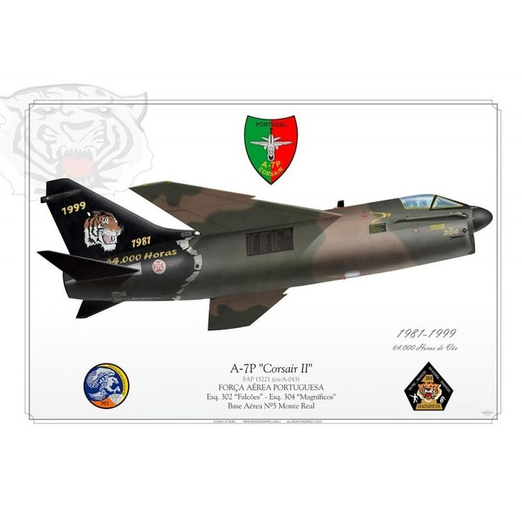 "Portuguese Air Force - A-7P Corsair - Esq. 302 ""Falcões"" - Esq. 304 ""Magníficos"" Base Aérea Nº5 Monte Real1981-1999"