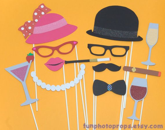 Drinks Photo Booth Prop Collection - 13 Piece Photobooth Set - Photobooth Props on Etsy, $21.95