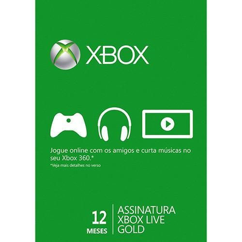 Live Card Microsoft Gold 12 meses XBOX 360