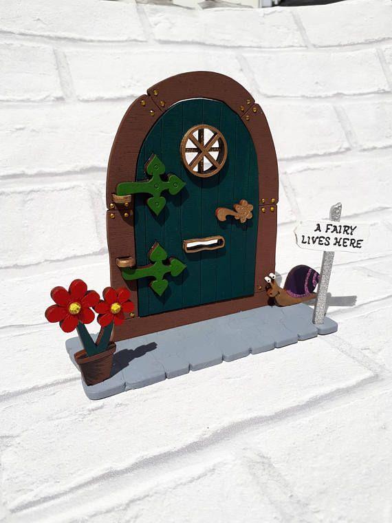Opening Fairy Door Handpainted embellished Glitter Fairy elf