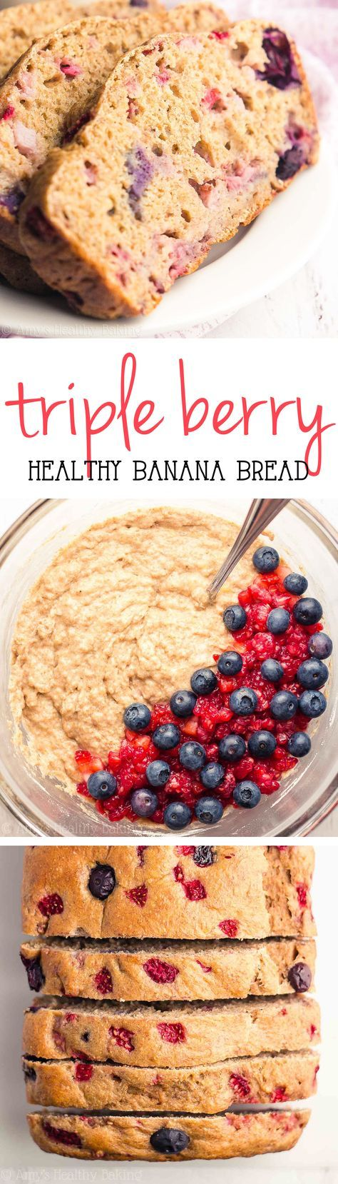 Skinny Triple Berry Banana Bread -- a great healthy breakfast or snack! This easy recipe is full of fruit & just 115 calories!
