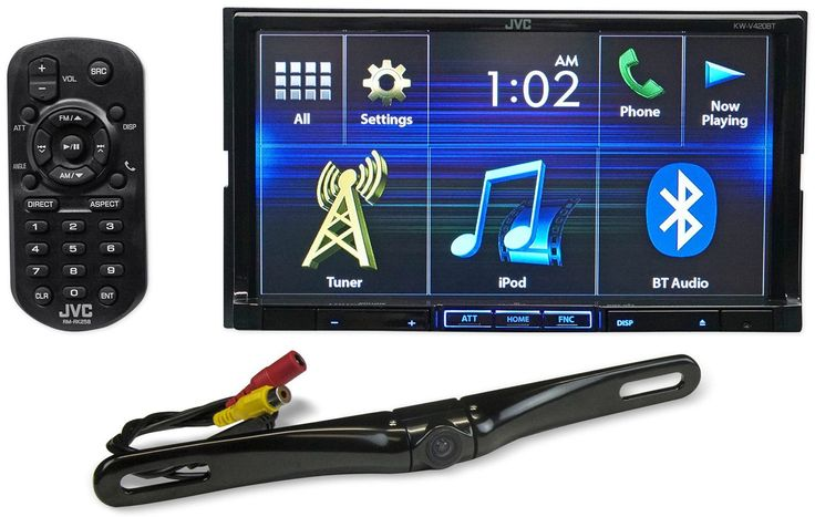 """Package: JVC KW-V420BT 7"""" Double-Din DVD Receiver with Built-In Bluetooth, USB, and iPhone/Android Controls + Rockville RBC5B Black Rearview Backup License Plate Bar Camera. 7"""" 2-Din In-Dash Car Stereo DVD Receiver/Player w/Bluetooth+USB. DVD/CD receiver with AM/FM tuner. Built-in internal amp (22 watts RMS/50 peak x 4 channels). 7"""" touchscreen with variable color button illumination. Fits double-DIN dash openings. Smartphone Features: Built-in iPod, iPhone, and iPad control. Built-in..."""