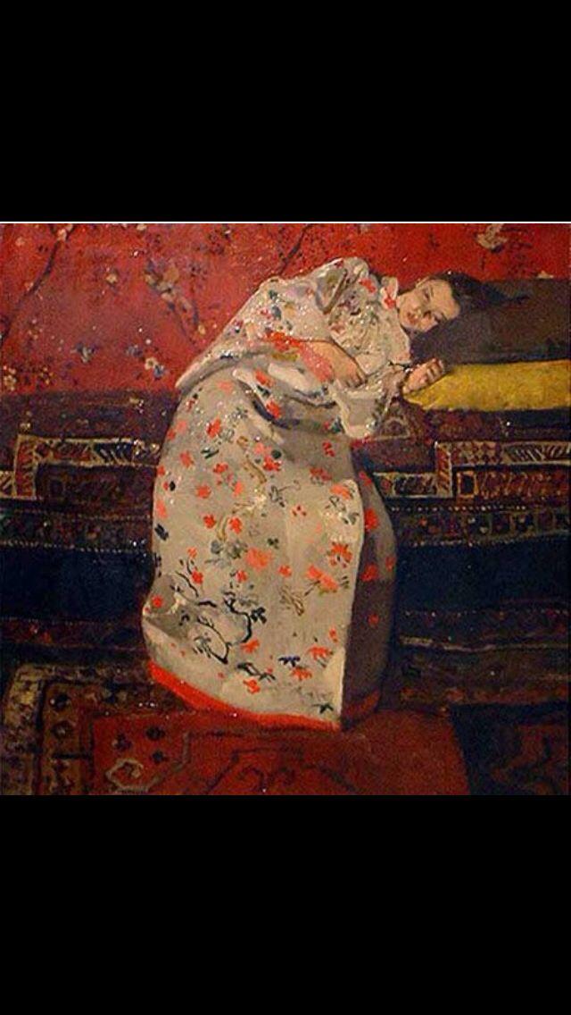 Meisje in witte kimono, George Hendrik Breitner, 1893 Hier is erg gefocust op de Japanse cultuur en stijl Dat kun je zien aan de kimono en de kersenbloesem op de achtergrond Ook kan je dat zien aan de Japanse houtsnedes en de grote kleurvlakken Het meisje ligt ontspannen op een paar kussens op een divan te kijken naar een bloem die zij in haar hand houdt