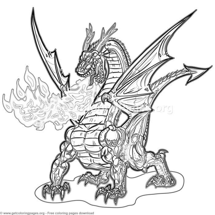 Cartoon Dragon Breathing Fire Coloring Pages Free Instant Download