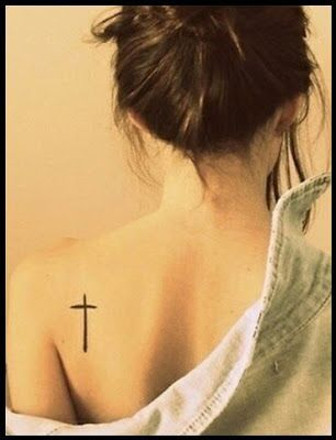 Shoulder Tattoo Designs For Girls - A simple and small cross tattoo on ...