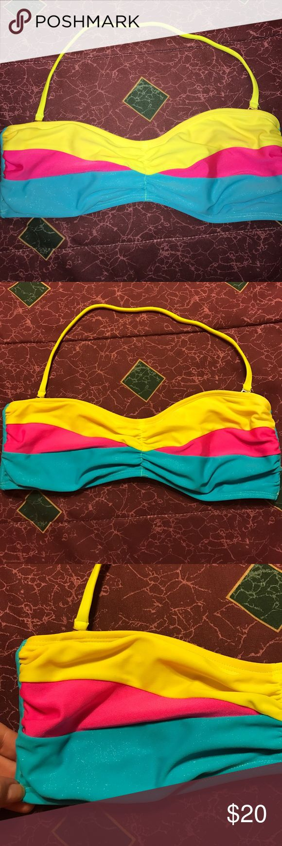 Fun multicolored bandeau bikini top Yellow, pink, and sparkly sky blue bikini top with removable straps, slightly worn but in great condition, does not include pad inserts (***tag is missing but I assume it's a medium) Xhilaration Swim Bikinis