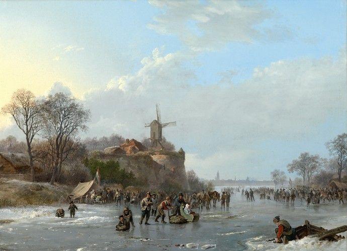 Barend Cornelis Koekkoek - IJsvermaak op de rivier