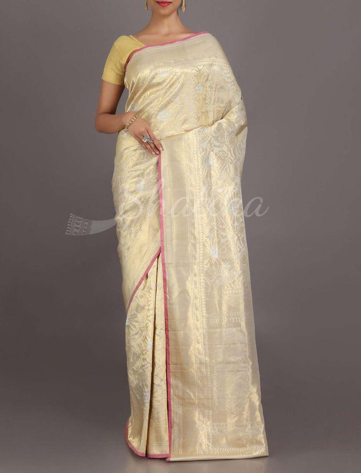 Jyoti White And Gold Sophisticated #Uppada #WeddingSilkSaree