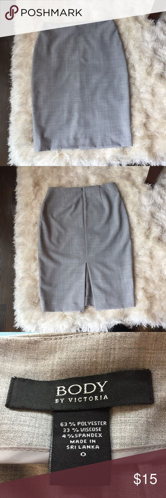 "Victoria's Secrets gray  pencil skirt size 0. Victoria's Secret, Body by Victoria grey pencil skirt size 0.Back slit.Waist measures 27"", length is 23"". Like new. Victoria's Secret Skirts Pencil"