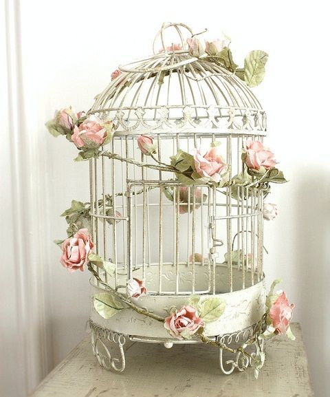 Pretty Bird Cage with Flowers