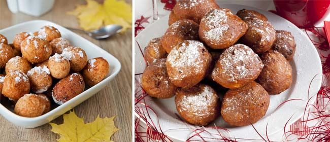 Oliebollen- Dutch doughnut recipe: This sweet treat is traditionally made around Christmas and the New Year in The Netherlands, but it's a wonderful snack to enjoy with friends and family at a midwinter dinner party. For those who do not like raisins you can substitute with chopped apple and perhaps add some cinnamon to the mixture.Makes 15-20.