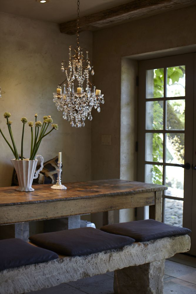 Love The Stone Bench, With The Old Farmhouse Table And The Crystal  Chandelier!