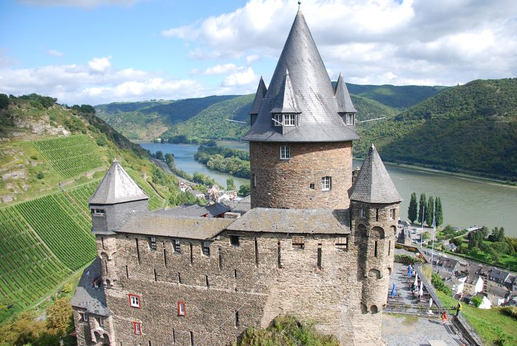 Stahleck Castle - Bacharach, Germany Stahleck Castle is a 12th-century fortified castle in the Upper Middle Rhine Valley at Bacharach in Rhineland-Palatinate, Germany. It stands approximately 520 ft above sea level on the left bank of the river at the mouth of the Steeg valley, approximately 31 mi south of Koblenz.  it was destroyed in the late 17th century but rebuilt in the 20th and is now a hostel.