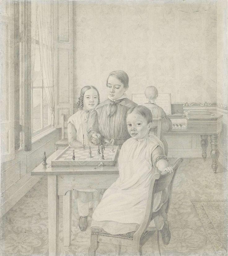De drie kinderen van Christian Heinrich Gottlieb Steuerwald in een interieur, Christian Heinrich Gottlieb Steuerwald, 1848
