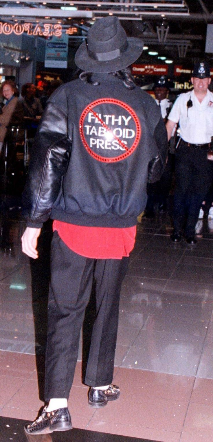"Michael Jackson with a ""No Filthy Tabloid Press"" Jacket On.  I sure can't blame him for wearing this.  So very much of the press printed inaccurate, unfair, twisted information about Michael just to make a buck! © Raynetta Manees, Author"