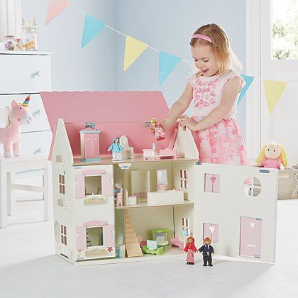 George Home Wooden Dolls House & Large Furniture Set   Toys & Character   George